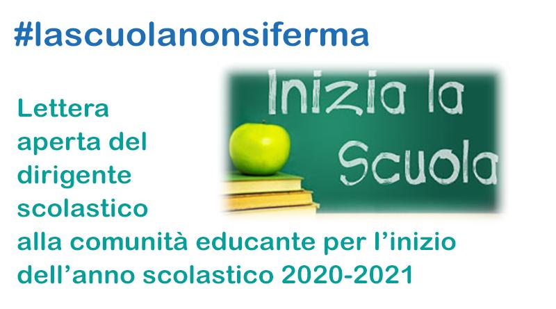 """Lettera del Dirigente Scolastico dell' I.I.S. """"VIA COPERNICO""""alla Comunità Educante tutta per l'inizio anno scolastico 2020/2021"""