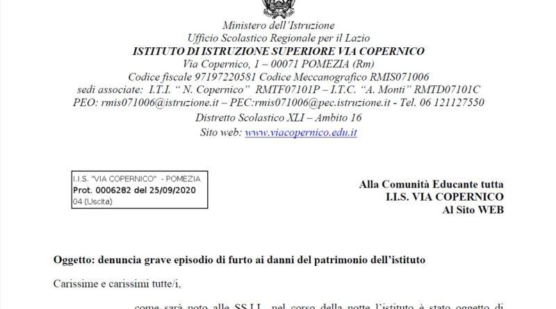 Lettera – Denuncia del D.S. per il grave episodio di furto ai danni del patrimonio dell'istituto