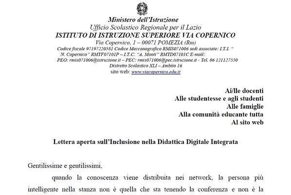 Lettera aperta sull'Inclusione nella Didattica Digitale Integrata